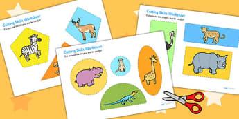 Safari Themed Cutting Skill Activity Sheets- jungle, fine motor skills