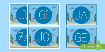 El pez arcoiris tarjetas de sílabas - Bajo el mar, proyecto, lecto, lecto-escritura, leer, lectura, sonidos iniciales,Spanish