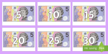 Counting in 5s on $5 Notes Display Numbers - Australian notes, counting in 5s, fives, five dollars, counting to 100, skip counting, adding money,