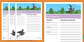 Potion Recipe Writing Activity Sheet