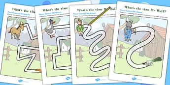 Pencil Control Path Worksheets to Support Teaching on What's The Time, Mr Wolf? - Motor