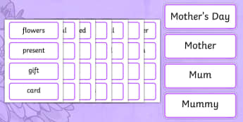 Mothers Day Word Cards - Mother's day, cards, word card, flashcards, Mother's day activity, Mother's day resource,