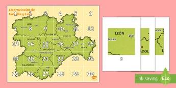 Tapiz de Bee Bot: La comunidad de Castilla y León  - Mapas, provinicias, mapas mudos, mapas en blanco, las ciudades de españa, comarcas, concejos, comun