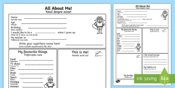 All About Me Activity Sheet English/Romanian - self registration, ourselves, , writing template, writing aid, oursleves, ourselvs, EAL
