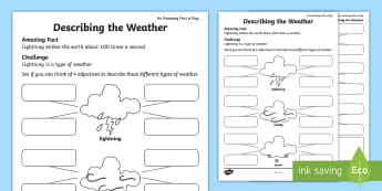 Describing the Weather Activity Sheet - Amazing Fact Of The Day, activity sheets, powerpoint, starter, morning activity, May, weather, descr