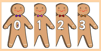 Numbers 0-31 on Gingerbread Man - 0-31, foundation stage numeracy, Number recognition, Number flashcards, counting, number frieze, Display numbers, number posters