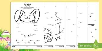 Easter Dot to Dot Activity Sheets English/Hindi - EYFS, Early Years, KS1, Easter, Easter Bunny, chicks, Easter eggs, number recognition, numbers to 10