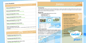 PlanIt Y3 Statistics Overview - statistics, data handling, table, tally chart, bar chart, pictogram, Carroll diagram, Venn diagram,