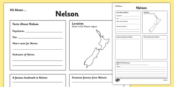 All About Nelson Writing Frame - Nelson, Anniversary, city, research