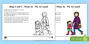 Linguistic Phonics Stage 5 and 6 Phase 3a, 'oa' sound Activity Sheet, worksheet