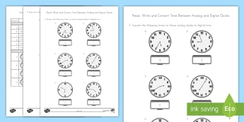 Read, Write and Convert Time Between Analog and Digital Clocks Activity Sheet - Math, Time, Analog Clock, Digital Clock, Time Conversion, Telling Time, worksheet, Time Assessment