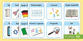 Wizualny plan zajęć szkolnych - rozkład, plan, zajęć, lekcji, szkoła, szkolnych, szkolny, język, matematyka, przyroda, historia