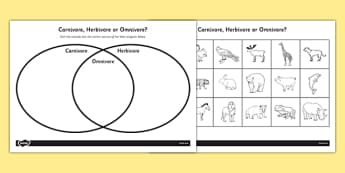 Venn Diagram Worksheet KS1 - Omnivore Carnivore or Herbivore Venn Diagram Sorting Worksheet