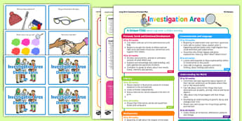 Investigation Area Continuous Provision Plan Poster and Challenge Cards Pack Nursery FS1