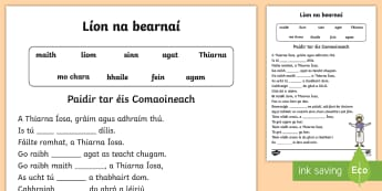 Prayer After Communion Fill in the Blanks Activity Sheet Gaeilge - Confession & First Communion Resources,Irish, worksheet