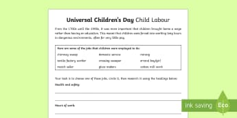 KS2 Universal Children's Day Child Labour Activity Sheet