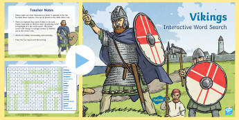 Vikings Interactive Word Search - CfE Social Studies resources, people past events and societies, interactive, word search, Vikings, k