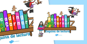 Reading Corner Display Poster Spanish Translation 4xA4 - spanish, reading corner, reading corner poster, reading area display, reading display poster, display posters, reading, area