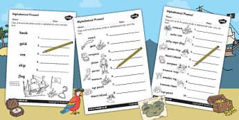 Pirate Alphabet Ordering Worksheet - pirate, a-z, alphabet, order