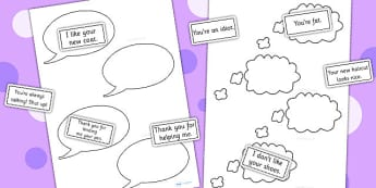 Think It Thought Bubbles And Say It Speech Bubbles Sort Activity