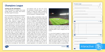 Champions League Differentiated Comprehension Go Respond Activity Sheets - Comprehension, Reading, Sport, Football, Soccer, Atmosphere
