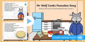 Mr Wolf Cooks Pancakes Song PowerPoint - Mr Wolf's Pancakes, pancake day, Jan Fearnley, PowePoint, singing, song time
