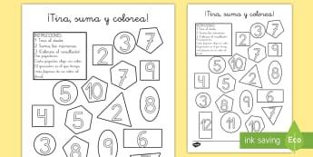 Ficha: ¡Tira, suma y colorea! - Figuras 2D - figuras planas, figuras 2D, 2D, tira, suma, colorea, colores, colorear, pintar, sumar, adición, adi