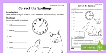 Correct the Spellings Activity Sheet - Amazing Fact Of The Day, amazing fact a day april, activity sheets, powerpoint, starter, morning act