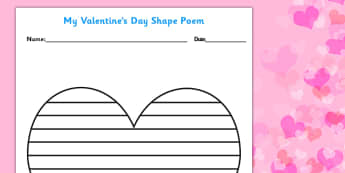 Valentine's Day Shape Poetry Template - shape, poetry, poems