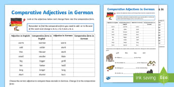 Comparative Adjectives Activity Sheet German - German, Comparative Adjectives, Adjectives, Grammar, Memory, Matching Cards