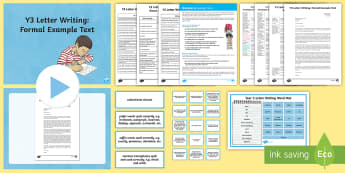 Y3 Letter Writing: Formal Example Text - Example Texts Y3, exemplification, moderating, moderation, wagoll, SATs, fiction, non-fiction, sampl - Example Texts Y3, exemplification, moderating, moderation, wagoll, SATs, fiction, non-fiction, sampl