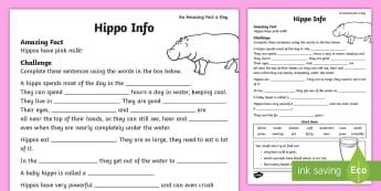 Hippo Info Activity Sheet - july amazing fact, animal, fact file, information, amazing fact, KS1, worksheet