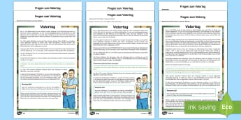 Vatertag Leseverstehen Arbeitsblätter: Unterschiedliche Schwierigkeitsgrade - Vatertag, Leseverstehen, Arbeitsblätter, unterschiedliche Schwierigkeitsgrade, Lesen, Verstehen, Ju
