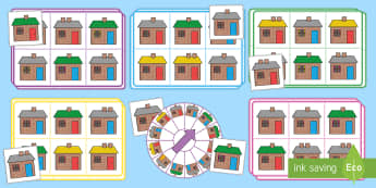 Find the House Spinner Bingo - listening, describing, taking turns, receptive language, attention and listening, listening games