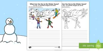 Winter Scene Writing Stimulus Picture English/Romanian - Winter Scene Writing Stimulus Picture - winter scene, writing stimulus, picture, writing, write, sti
