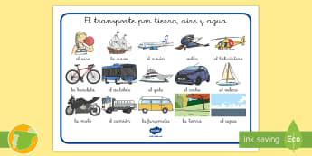Tapiz de vocabulario: El transporte de la tierra, el aire y el agua - vocabulario, tapiz, palabras, transporte, coche, camión, avión, globo aerostático, autobús, moto