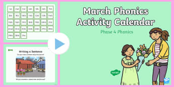 Phase 4 March Phonics Activity Calendar PowerPoint - March, phonics, calendar, monthly, reading, spelling, sorting, tricky words, letters and sounds, act