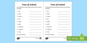 Trees of Ireland Word Scramble Activity Sheet - trees, Ireland, tree week, oak, ash, birch, hazel, horse chestnut, hawthorn, unscramble, scramble, I