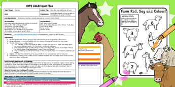Farm Roll Say Colour EYFS Adult Input Plan and Rresource Pack - farm, planning
