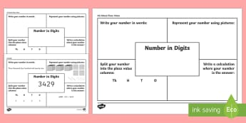 All about Place Value First Level  Activity Sheet - CfE Numeracy and Mathematics, number, money, measure, shape, position, movement, data handling, info