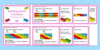 Building Brick Fraction Challenge Cards - Year 5, Year 6, maths, mathematics, numeracy, fractions, percentage, challenge cards, fast finisher,