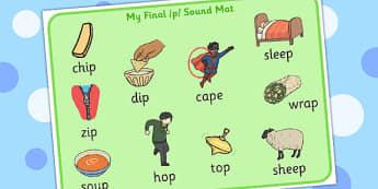 Final 'P' Sound Word Mat 2 - sounds, words, mats, visual, visuals
