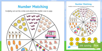 Number Matching Pegs Activity Summer Themed - summer, matching, pegs