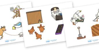 Farmer Duck Story Cut Outs - farmer duck, story cut outs, story, story characters, character cut outs, farmer duck characters, farmer duck cut outs