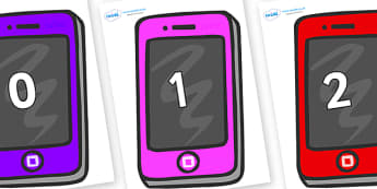Numbers 0-31 on Mobile Telephones - 0-31, foundation stage numeracy, Number recognition, Number flashcards, counting, number frieze, Display numbers, number posters