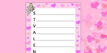 Acrostiche de la Saint-Valentin - french, acrostic poems, acrostic poem, acrostic, poem, valentines poetry, valentines poem, valentines day acrostic poem, poetry, literacy, writing activity, activity, Poème, acrostiche, Saint, Valentin, écriture