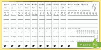 NZ Number Formation Worksheet - New Zealand Maths, number formation, number tracing, NZ Numbers, N.E maths activities