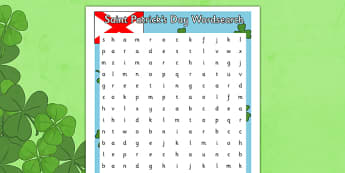 Saint Patrick's Day Word Search - gaeilge, wordsearch, Saint Patrick, vocabulary, Saint Patrick's Day, wordbank