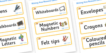 Goldfish Themed Editable Writing Area Resource Labels - Themed writing resource labels, literacy area labels, writing area resources, Label template, Resource Label, Name Labels, Editable Labels, Drawer Labels, KS1 Labels, Foundation Labels, Foundati