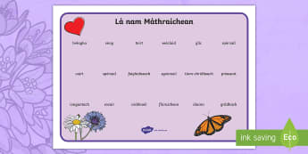 CfE Mother's Day Word Mat - CfE Gaelic Events Resources, mother's day,word mat, vocabulary, writing tools, writing prompts, gae